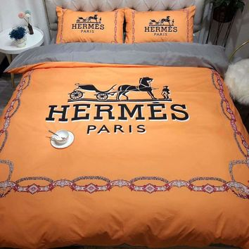 HERMES Printed Blanket Quilt coverlet Pillow shams 3 PC Bedding SET
