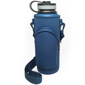 Onoola 40oz Blue Neoprene Pocket Carrier for Hydro Flask Type Bottles (Blue)