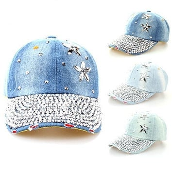 2015 New Flower Cowboy Fashion Baseball Cap Women's Punk Hats