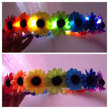 Rainbow LED Flower Crown  For music festivals EDC Raves