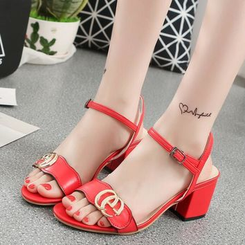 GUCCI Buckle Fashion women thick&Pointed heels open-toed sandals shoes red