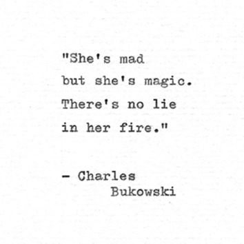 "Charles Bukowski Letterpress Quote ""She's mad but she's magic..."" Vintage Typewriter Love Print Hand Typed Poetry Gift Inspirational Love"