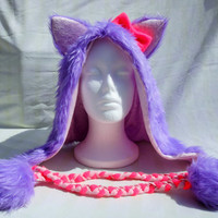 Kawaii Purple Pink Glitter Animal Rave Festival Hood Fox Cat Kitty Wolf Neon Pink Bow Sparkle Fluffy Furry Spirit Hood Scoodie