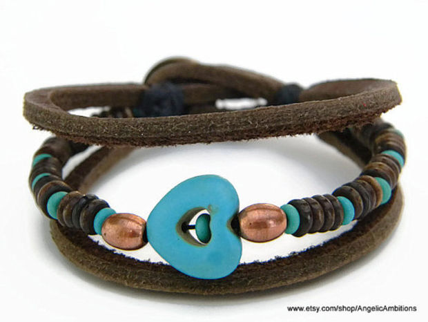 906df784beb04 http   wanelo.com p 7949171 leather-and-natural-turquoise-bracelet ...