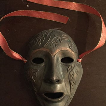 Vintage Brass Theatre Drama Mask Wall Hanging Arts Acting Stage Metal