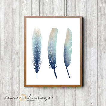 Printable Feather Art - Three Feathers
