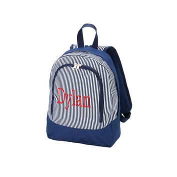 Monogrammed Preschool Backpack Navy Blue Pinstripe Stripe Toddler Bookbag Satchel Back Pack Book Bag