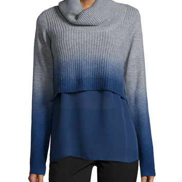 Raleigh Cashmere Ombre Turtleneck Sweater w/ Underpinning,