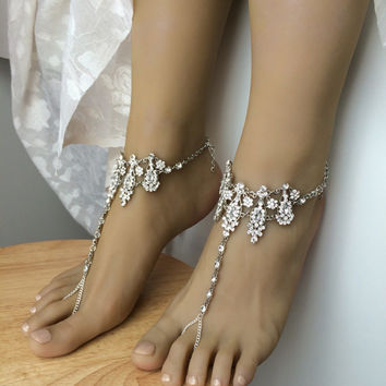 Amira barefoot sandals beach wedding sandals rhinestone anklet foot jewelry ankle bracelet foot thong wedding gift boho bride gift anklet