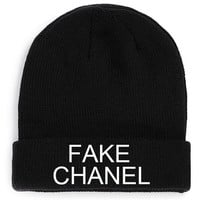 Fake chanel Black Beanie Funny Knit beanie Beanies Hat Embroidery ysl chanel louis vuitton celine paris chanel beanie