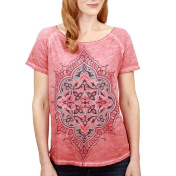 ONETOW Lucky Brand Geo Floral Tee Biking Red 7W82948