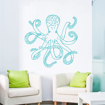 Wall Decal Vinyl Sticker Decals Art Home Decor Design Mural Octopus Tentacles Fish Deep Sea Ocean Animals Fashion Bedroom Bathroom Dorm AN92