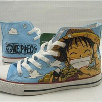 one piece anime Custom Converse one piece anime by paintedscanvas