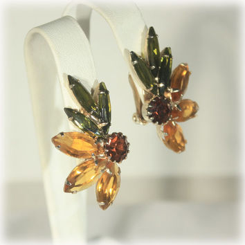 Rhinestone Earrings, Navette Stone, Green Topaz Earrings, Flared Starburst, Mid Century Hollywood, Large Earrings