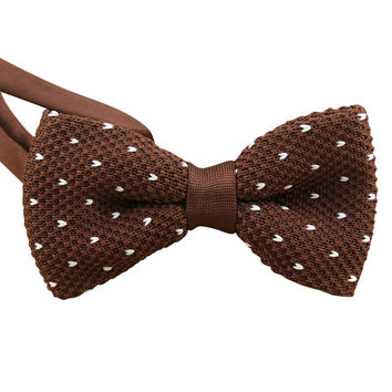 Brown Knit Bow Tie