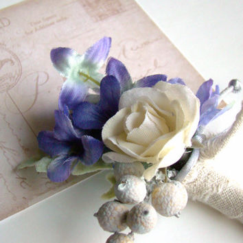 Blue Wedding Boutonniere, Rustic Chic, Men's Lapel Flower, Ivory Rose, Prom Flower