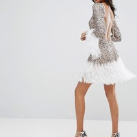 ASOS Long Sleeve Embellished Feather Hem Mini Dress at asos.com
