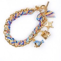 Charm Bracelet with Rainbow Woven Thread (Yellow Gold Plated) | Disney Couture Jewelry | 80's Purple