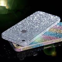 Bling Sticker Case For Apple iPhone 5 5S SE 4 4S Full Body Decal Skin Bling Glitter Sticker Phone Cover For iPhone 5S 5SE Coque