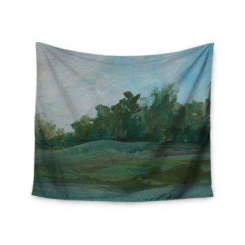 "Cyndi Steen ""Stand Of Trees"" Green Blue Wall Tapestry"