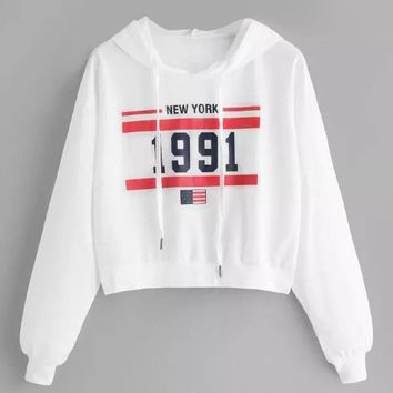 Fashion 1991 letter Hoddies Womens Long Sleeve Sweatshirts Letter Hoodie Printed Causal Autumn Clothing befree Pullover Tops