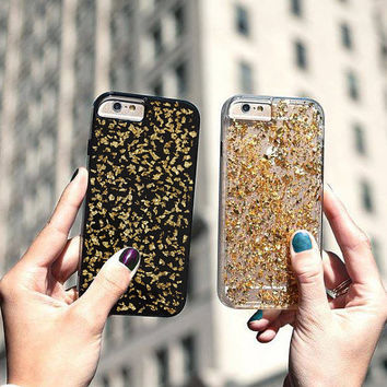 BLACK GLAM, Luxury case iPhone 6/6s 6Plus/6s Plus, iPhone 5 iphone 4/4s, Samsung S6Edge Case Cover Accessories Cell Phone gold flakes 24K
