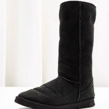 UGG AUSTRALIA Black Suede Shearling Wool Tall Calf Boot Shoes 7 37