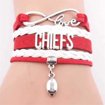 GVUSMIL Infinity CHIEFS Football Team Bracelet Customize Kansas City Sport Wristband Friendship Bracelets