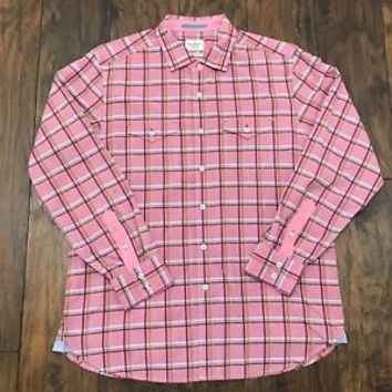 Tommy Bahama Jeans Pink Plaid Cotton Button Up Shirt Mens Size Large Modern Fit