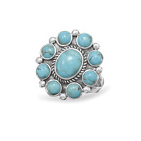 Oxidized Turquoise Oval Ring