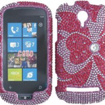 Silver Pink Hearts Bling Rhinestone Faceplate Diamond Crystal Hard Skin Case Cover for LG Quantum C900