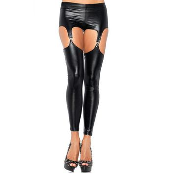Sexy Punk Garter Buckle Faux Leather Strap Garter Tights