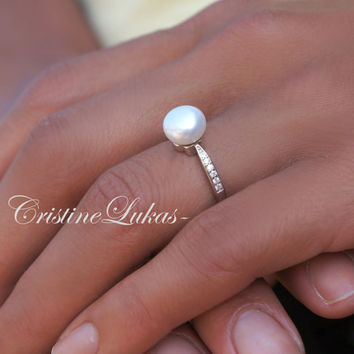 Pearl Ring With Clear CZ Stones - Freshwater White Pearl with Sterling Silver - Large Pearl