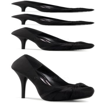 Pleaser Shoes Gorgeous-28 - Sophisticated Black Satin Concealed Platform Knotted Detail Pinup Pumps with 5 1/4 inch Stiletto Heel