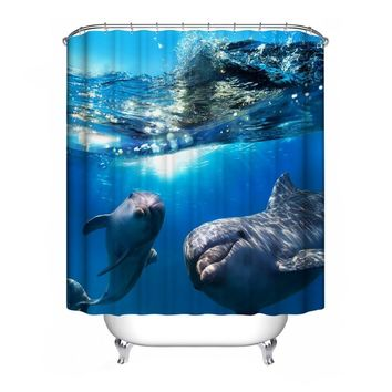 6 Types Polyester Waterproof Shower Curtain sea gull Bathroom Decorations dolphin / blue jellyfish /  Submarine coral 2 Sizes
