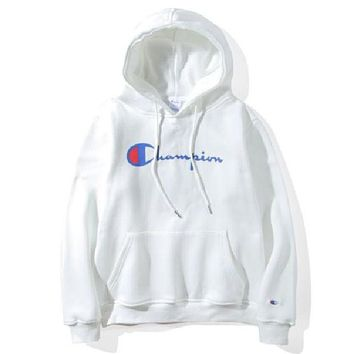 Champion fashion women men sets the head sweater casual print couple models Plus velvet hooded sweater simple class service top sweatshirt White I