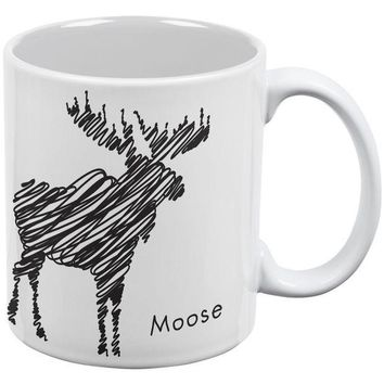 IKCKJY1 Moose Scribble Drawing White All Over Coffee Mug