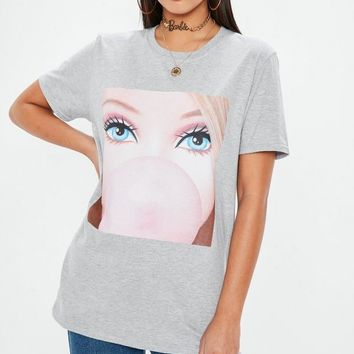 Missguided - Barbie x Missguided Gray Longline Graphic T Shirt