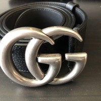 Gucci men marmont Gg Belt Silver Black Leather