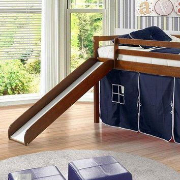 Jason Loft Bed with Slide & Blue Tent