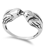 925 Sterling Silver Lovebirds Kissing Ring