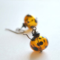 Amber Polka Dot Earrings, Hollow Glass Dangle, Leopard