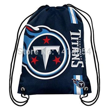Tennessee Titans wordmack Drawstring Backpack 35x45CM NFL Digital Printing Polyester Custom Sports Backpack, free shipping