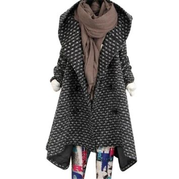 2017 Winter Korean High-end Cloak Cashmere Woolen Coat Women Plus Size fashion Hooded Long Wool Jacket Girls Plaid Cape Overcoat