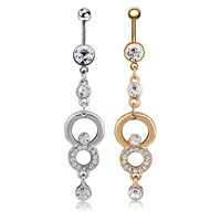 New Charming Dangle Crystal Navel Belly Ring Bling Barbell Button Ring Piercing Body Jewelry = 4661637316