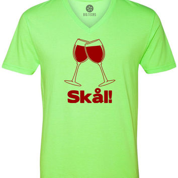 Wine Glass Swedish Cheers (Red) Short-Sleeve V-Neck T-Shirt