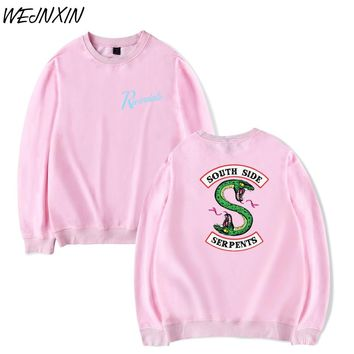 WEJNXIN Pink Riverdale Design Capless Hoodies For Men Women Unisex South Side Serpents Fleece Sweatshirt Light Weight Streetwear
