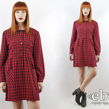 Vintage 90s Red Plaid Babydoll Dress L XL 90s Grunge Dress Tartan Plaid Dress Red Dress Red Plaid Dress Large Plaid Dress Plaid Mini Dress