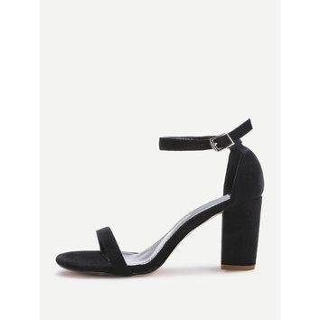 Black High Heel Ankle strap Sandals