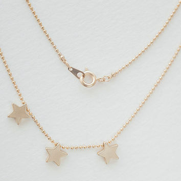 Triple tiny star necklace - Gold Tiny star necklace, Dainty Jewelry - Three star necklace - Mothers day jewelry, Small star necklace